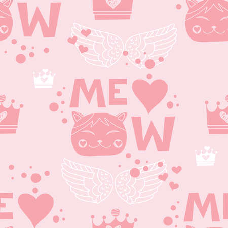 Seamless pattern Meow- handdrawn lettering. Cute cat. Funny cartoon poster with lettering composition for girls, fashion t shirt.Vector illustration.