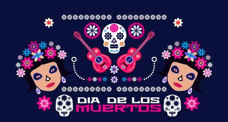 Dia de Los Muertos, Day of the Dead or Halloween greeting card, banner, invitation. Sugar tatoo skulls, candle, maracas, guitar, sombrero and marigold flowers, Catrina Calavera traditional mexico skeleton decoration Vector illustration. 일러스트