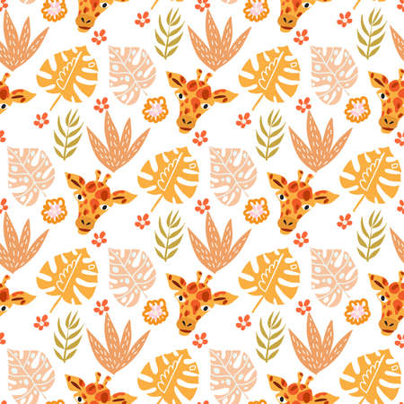 Cute seamless pattern with giraffe in cartoon style. Floral savanna, jungle background, Kids illustration for design prints, textile, fabric, wallpapers. Vector illustration. 일러스트