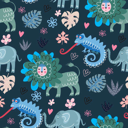Cute cartoon childish seamless pattern with lion, chameleon, lizard, in scandinavian style. Use for textile, fabric, t- shirt template, surface design, fashion kids wear, baby shower. Vector doodle illustration for kids.