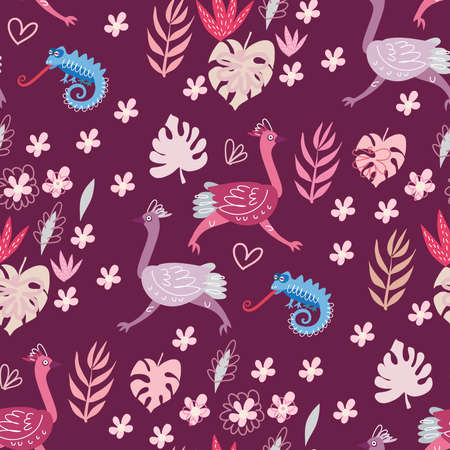 Seamless childish pattern with cute ostrich in cartoon style. Use for textile, wallpaper, fabric, t shirt template, kids apparel, poster, postcard, surface design, fashion kids wear, baby shower. Vector doodle illustration for kids. 일러스트