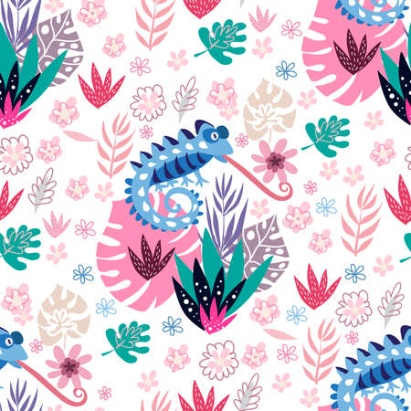 Seamless childish pattern with cute chameleons. Use for textile, fabric, wallpaper, poster, postcard, surface design, fashion kids wear, baby shower. Vector doodle illustration for kids.