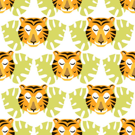 Seamless childish pattern with cute tiger Use for textile, fabric, wallpaper, kids apparel, wall art, poster, surface design, fashion kids wear, baby shower. Vector doodle illustration for kids