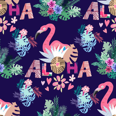 Beautiful colorful seamless pattern with parrot, macaw, jaco, pink flamingo bird, lettering and exotic flowers, leaves. Tropical flowers background. Vector cute summer illustration 일러스트