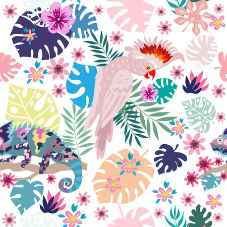 Seamless pattern with tropical parrots. Colorful exotic Birds, leaves, flowers, plants and branches art print for textile, fabric, covers, fashion. EPS 10