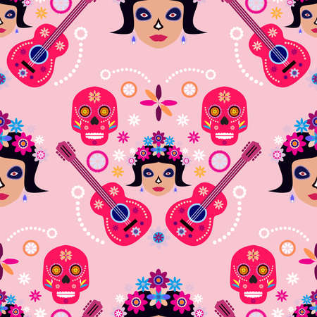 Mexican seamless pattern, sugar skulls and flowers Template for mexican celebration, Dia de Los Muertos, Day of the Dead Halloween Vector illustration
