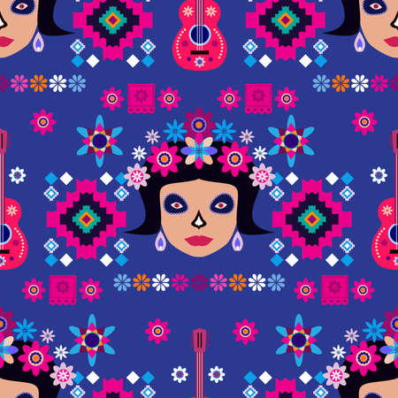 Mexican seamless pattern, sugar skulls and flowers Template for mexican celebration, traditional mexico skeleton decoration. Dia de Los Muertos, Day of the Dead Halloween Vector illustration 스톡 콘텐츠