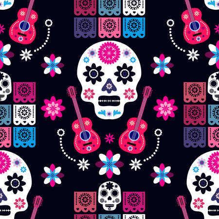 Mexican seamless pattern, sugar skulls and colorful flowers. Template for mexican celebration, traditional mexico skeleton decoration. Dia de Los Muertos, Day of the Dead. Vector illustration.