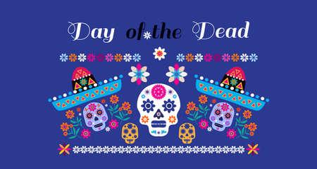 Dia de Los Muertos, Day of the Dead or Halloween greeting card, banner, invitation. Sugar tatoo skulls, candle, maracas, guitar, sombrero and marigold flowers, Catrina Calavera Vector illustration.