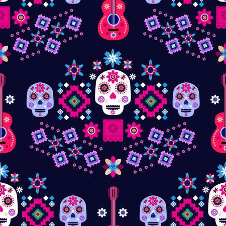 Mexican seamless pattern, Catrina Calavera sugar skulls and marigold flowers Dia de Los Muertos, Day of the Dead Halloween Vector illustration