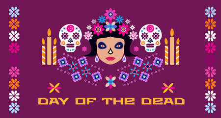 Dia de Los Muertos, Day of the Dead or Halloween Sugar tatoo skulls, maracas, guitar, sombrero and marigold flowers, Catrina Calavera Vector illustration. 일러스트