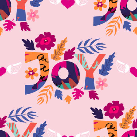 Seamless pattern Joy - handdrawn lettering. Cute flowers letter. Funny cartoon poster with lettering composition for design girls, textile, fabric, wallpaper, covers, fashion t shirt Vector illustration