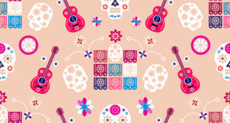Mexican seamless pattern, sugar skulls and colorful flowers. Template for mexican celebration, Dia de Los Muertos, Day of the Dead. Vector illustration.