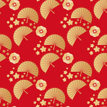 Beautiful japanese seamless pattern with clouds, waves. Japanese, chinese elements. Vector seamless asian texture. For printing on packaging, textiles, paper, fabric, manufacturing, wallpapers.