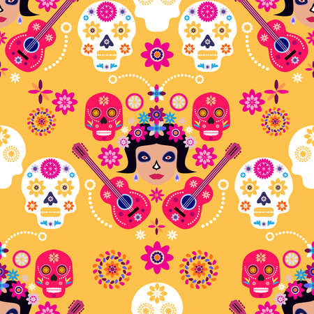 Mexican seamless pattern, Catrina Calavera sugar skulls and marigold flowers. Template for mexican celebration, traditional mexico skeleton decoration. Dia de Los Muertos, Day of the Dead Halloween illustration