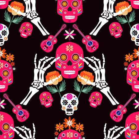 Mexican seamless pattern, sugar skulls and colorful flowers. Template for mexican celebration, traditional mexico skeleton decoration. Dia de Los Muertos, Day of the Dead. illustration.