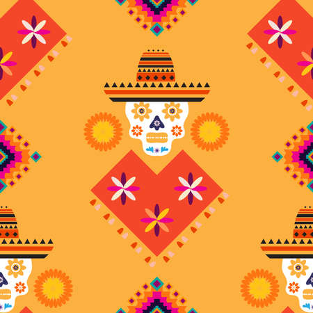 Mexican seamless pattern, sugar skulls and colorful flowers. Template for mexican celebration, traditional mexico skeleton decoration. Dia de Los Muertos, Day of the Dead.