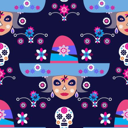 Mexican seamless pattern, Catrina Calavera sugar skulls and marigold flowers, traditional mexico skeleton decoration. Dia de Los Muertos, Day of the Dead Halloween illustration
