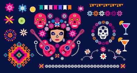 Dia de Los Muertos, Day of the Dead or Halloween set elements. Sugar tatoo skulls, candle, maracas, guitar, sombrero and marigold flowers, Catrina Calavera traditional mexico skeleton decoration Vector illustration.