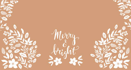 Happy Merry Christmas lettering Template Christmas card with flowers wreath, frames. Festive christmas background Unique handrawn winter design for creeting cards, invitation Vector illustration Ilustração