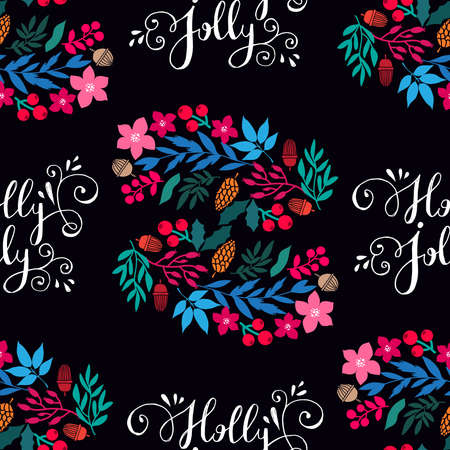 Merry Christmas winter floral holiday art background. Hand drawn Christmas seamless pattern with mistletoe, pine cones, acorns, rowanberries, poinsettia and flowers. Vector illustration.