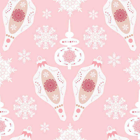 Christmas seamless pattern with ball-toy, christmas decoration, snowflakes. Holidaus art background for your template textile, fabric, decoration for website, social networks and greetings card or christmas invitations. Vector illustration.