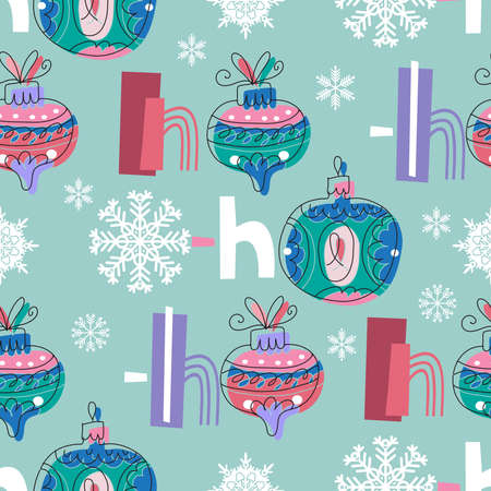Ho-Ho-Ho! - text, hand drawn brush lettering. Holiday funny seamless pattern with laughter of Santa Claus. Christmas Holiday decoration. Hand lettered quotes for paper, textile, fabric, covers, greeting cards. Vector illustration.
