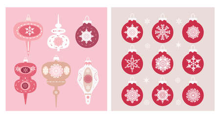 Christmas set elements with balls, Christmas toy, snowflakes. Holidaus art collection for template textile, fabric, wallpaper, paper, decoration for website, social networks, blog or your video channel and greetings card, banner Vector flat illustration