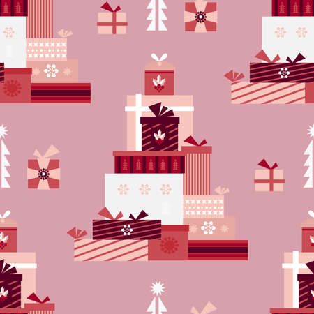 Christmas seamless pattern with gift boxes, red and golden balls, snowflakes. Holidaus art background for your template textile, fabric, decoration for website, social networks, blog, and greetings card or christmas invitations. Vector illustration.