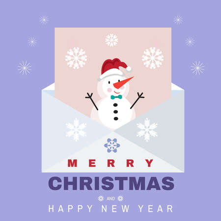 Christmas letter concept. Big envelope with christmas elements and snowflakes. Mailbox. Correspondence. Flat cartoon vector illustration. Xmas. 向量圖像