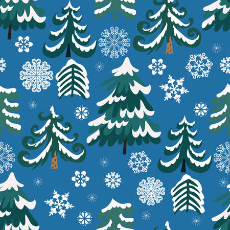 Merry Christmas winter floral holiday art background. Hand drawn Christmas seamless pattern with winter forest, christmas trees. Vector illustration.