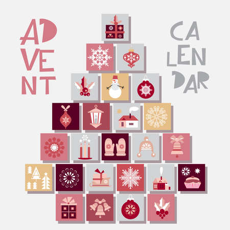 Advent calendar with Christmas elements, snowflake, mistletoe, tree, snowman, mittens, sock, wreath, tree and gift box. Merry Christmas and happy Holidays. Vector flat cartoon poster illustration. 向量圖像