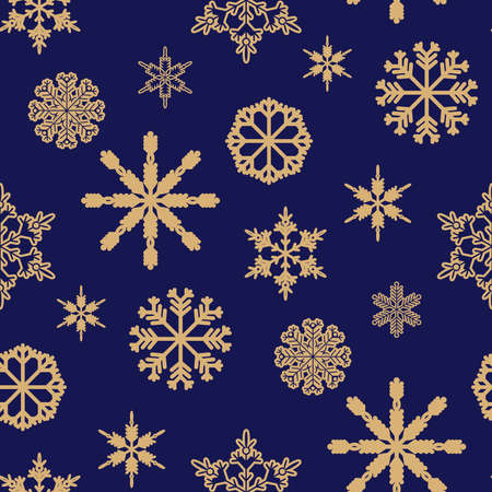 Christmas seamless pattern with golden snowflakes. Merry Christmas and Happy New Year. Beautiful holiday Template background, packaging paper, cover, fabric, textile, web sait. Vector illustration