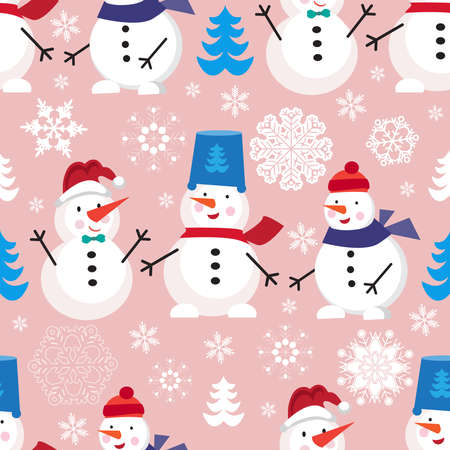 Christmas seamless pattern with snowman and snowflakes. Merry Christmas and Happy New Year. Template background, packaging paper, cover, fabric, textile, Vector cartoon illustration. 向量圖像