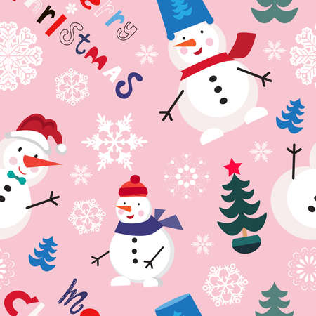 Christmas seamless pattern with snowman and snowflakes. Merry Christmas and Happy New Year. Template background, packaging paper, cover, fabric, textile, Vector cartoon illustration. Vektorgrafik