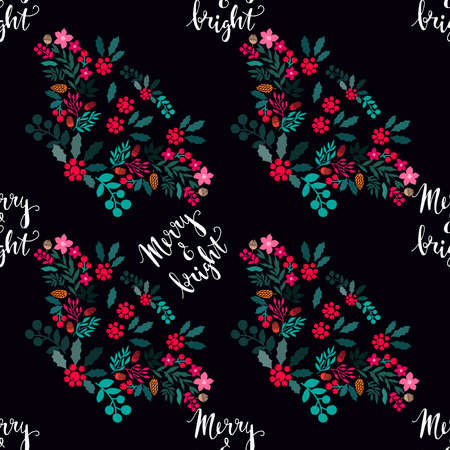 Merry Christmas winter floral holiday art background. Hand drawn Christmas seamless pattern with mistletoe, pine cones, acorns, poinsettia and flowers. Vector illustration. 向量圖像