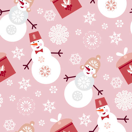 Christmas seamless pattern with snowman and snowflakes. Merry Christmas and Happy New Year. Beautiful holiday ornament for winter design. Template background, packaging paper, cover, fabric, textile, Vector cartoon illustration. 向量圖像