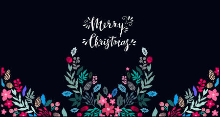 Happy Merry Christmas lettering Template Christmas card with flowers wreath, frames. Festive christmas background Unique handrawn winter design for creeting cards, invitation Vector illustration 向量圖像