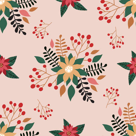 Merry Christmas winter floral holiday art background. Hand drawn Christmas seamless pattern with poinsettia and flowers. Vector illustration. 向量圖像