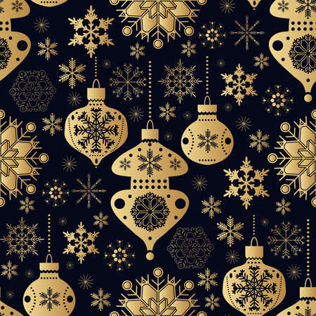 Christmas seamless pattern with golden snowflakes. Merry Christmas and Happy New Year. Beautiful holiday ornament for unique winter design. Template background, packaging paper, cover, fabric, textile, web sait. Vector illustration