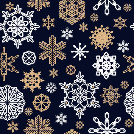 Christmas seamless pattern with golden icon snowflakes. Merry Christmas and Happy New Year. Beautiful holiday ornament for unique winter design. Template background, packaging paper, cover, fabric, textile, card, web sait. Vector illustration.