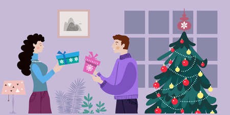 Christmas interior in flat cartoon style. Merry Christmas, winter scene with people and big Xmas tree. Men and women celebrate Christmas and hold gifts. Vector cute illustration.