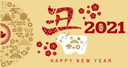 """Happy chinese new 2021 year, year of the ox, bull, cow. Japanese characters translation: """"Ox"""" Template banner, poster in oriental style."""