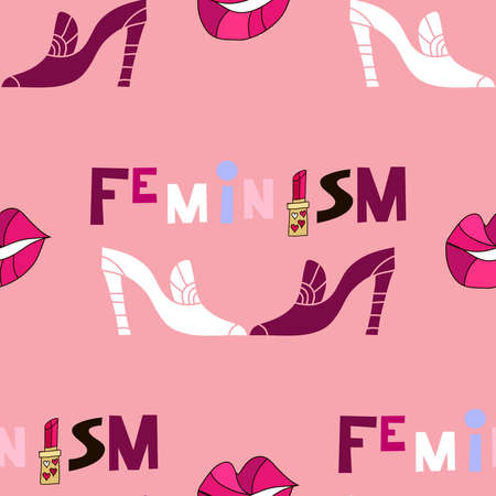Feminism lettering in cartoon style. Woman motivational slogan seamless pattern. Inscription ornament for textile, fabric, cover, t shirts, posters, cards. Ilustração