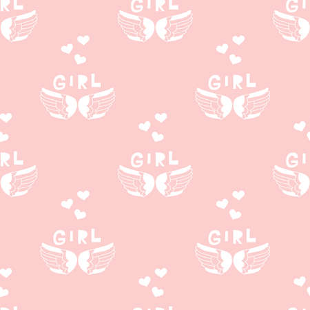 Girl power seamless pattern. Inscription ornament for textile, fabric, cover, t shirts, posters, cards. Vector fashion flat illustration.