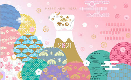 "Happy chinese new 2021 year, year of the ox, bull, cow. Japanese characters translation: ""Ox"" Template banner, poster in oriental style. Asian elements. Vector flat illustration."
