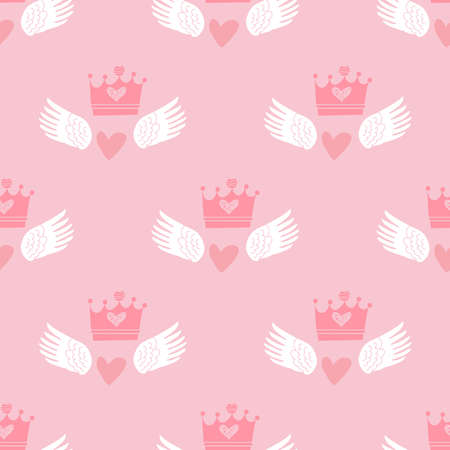 Awesome gentle baby seamless pattern with crown, heart, star. Perfect for textile, fabric, cover, baby shover, paper, wall art. Vector cute illustration. Vettoriali