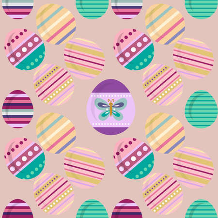 Happy Easter. Beautiful festive seamless pattern with easter eggs, spring meadow flowers. Cute spring floral background, paper, textile, covers, banner. Vector