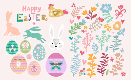 Happy Easter big set with easter eggs, cute bunny, funny rabbit, spring meadow flowers. Cute spring floral background, paper, textile, covers, banner, baby shower. Vector