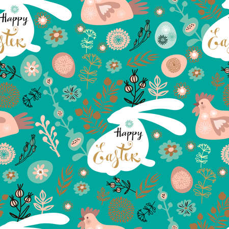 Easter Beautiful festive seamless pattern with easter eggs, cute bunny, funny rabbit, spring meadow flowers. Cute spring floral background, paper, textile, covers, banner Vector